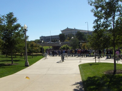 Queues to the Field Museum on a busy day