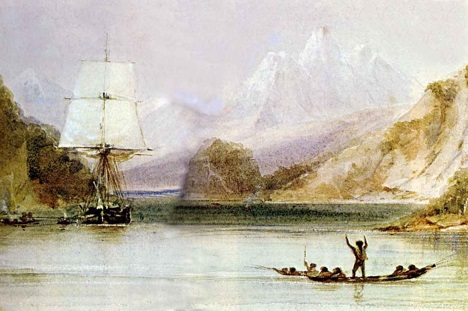 HMS Beagle painted by Conrad Martens